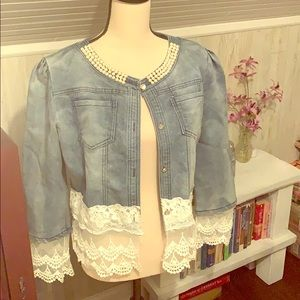 Cute Jean Jacket Lace and Pearls 10/12/14